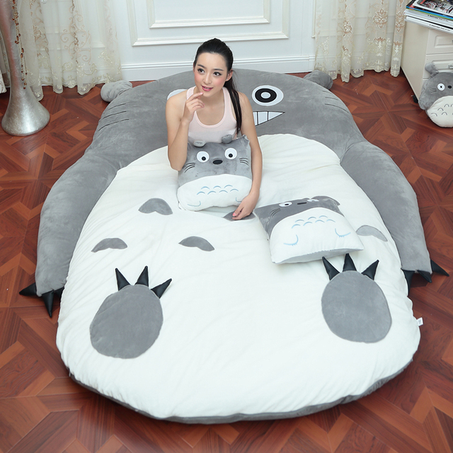 4 Size Large Totoro Single And Double Bed Giant Totoro Bed Mattress Cushion  Plush Mattress Pad Tatami Cushion Beanbag matelas 711ee40ce