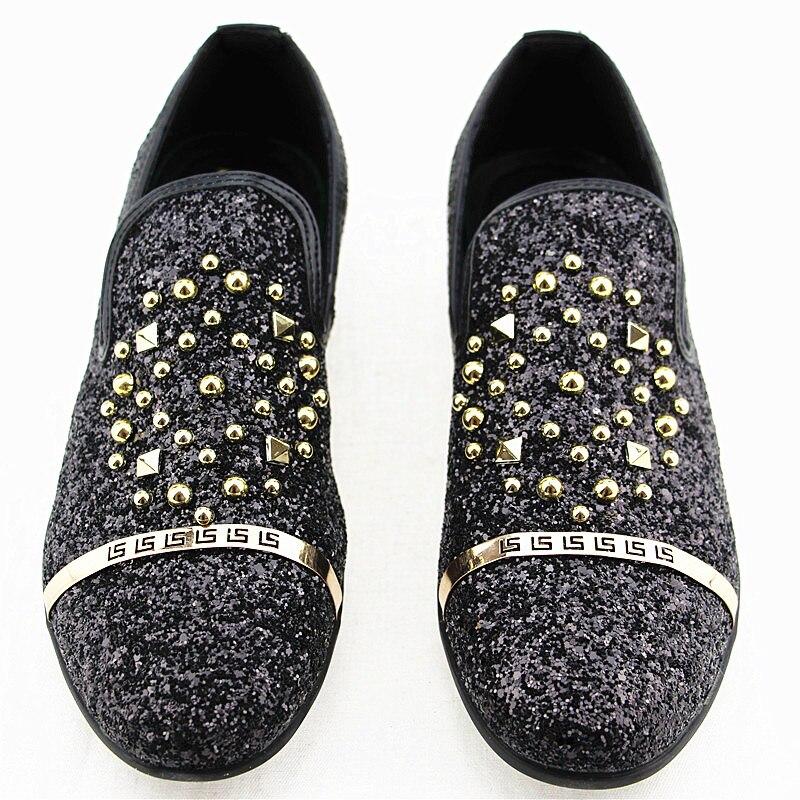 Movechain Sapatos Loafers Partido vermelho Glitter Homens prata Flats Oxfords on Beading Dos Moda Driving Rebites Homem Mens Slip Preto Casuais Mocassins 4qXa4w
