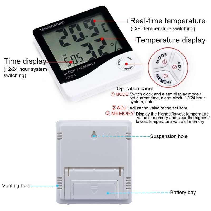 Junejour-1/-2 مقياس الرطوبة الرقمي ميزان الحرارة LCD الإلكترونية في الهواء الطلق داخلي درجة حرارة الغرفة جهاز مراقبة الرطوبة ساعة تنبيه