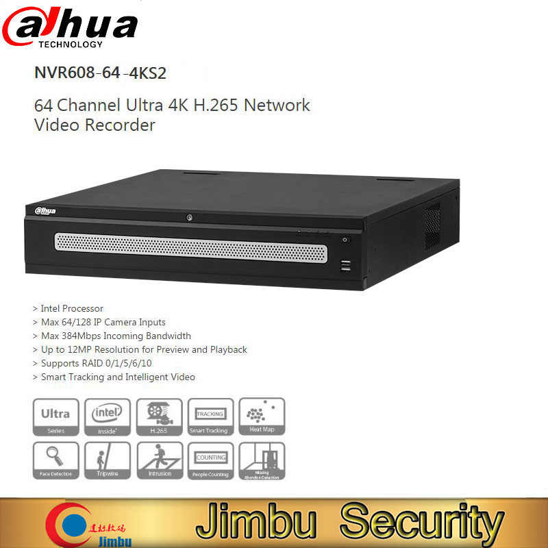 Dahua 64ch 4K H 265 Network Video Recorder NVR608 64 4KS2 support 64 IP Camera Inputs