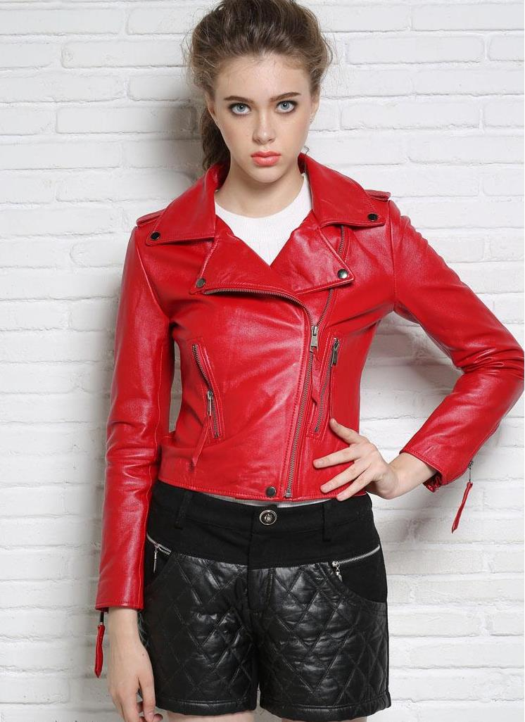 Autumn street black rose red motorcycle genuine leather jacket womens sheepskin jackets and coats slim oblique