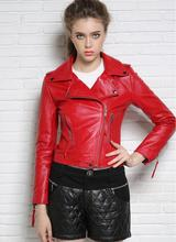Autumn street black rose red motorcycle genuine leather jacket womens sheepskin jackets and coats slim oblique zipper clothes