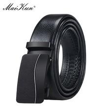 Maikun Belts for Men Automatic Metal Geometric Pattern Buckle Male Belt Luxury Designer Brand Leather