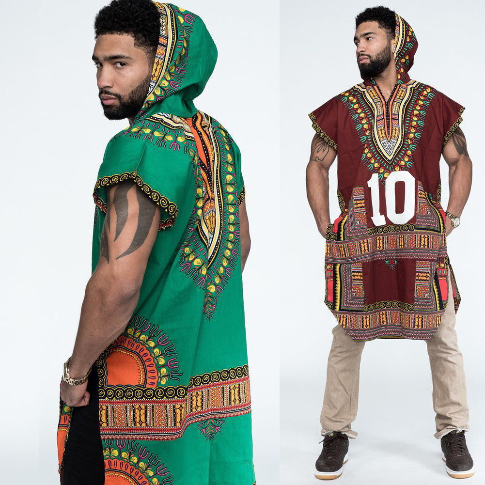 African Tribal Boho Men's Dashiki Print Black Succinct Hippie Top T Shirts Casual Loose Clothes Hooded