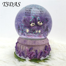 Rotary Crystal Ball Music Box With Round Shape Colorful Bear Music Boxes With Snowflake Princess Girl gifts