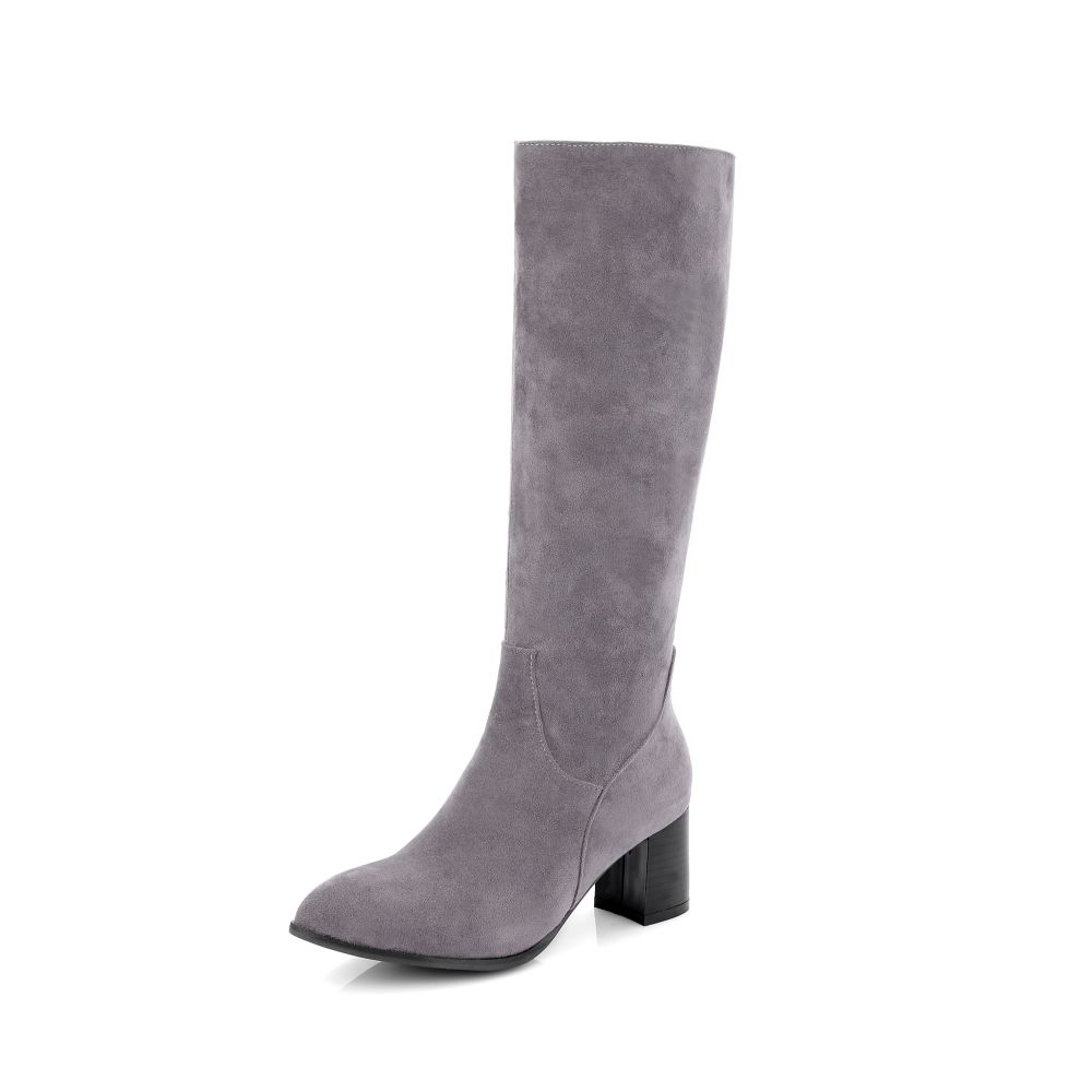 Brand New Sale Yellow Gray Women Nude Knee High Boots Sexy Lady Riding Motorcycle Shoes Chunky Heel EAK13 Plus Big size 32 43 46 brand new fashion black yellow women knee high cowboy motorcycle boots ladies shoes high heels a 16 zip plus big size 32 43 10