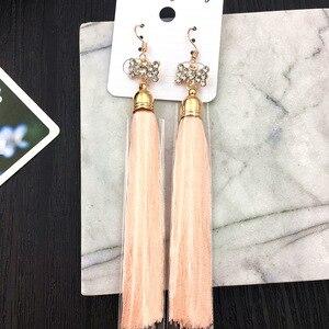 Image 2 - MYDANER pendientes colgantes con borlas largas para mujer, joyas pendientes de gancho con cristales bohemios, 20 par/lote, venta al por mayor