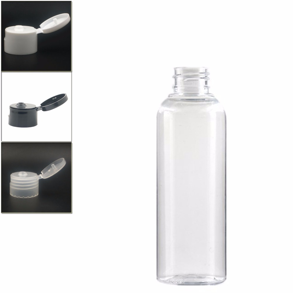 Empty White Dispensing Caps Plastic Bottles, 200ml Clear PET Bottle With  Flit Top Cap