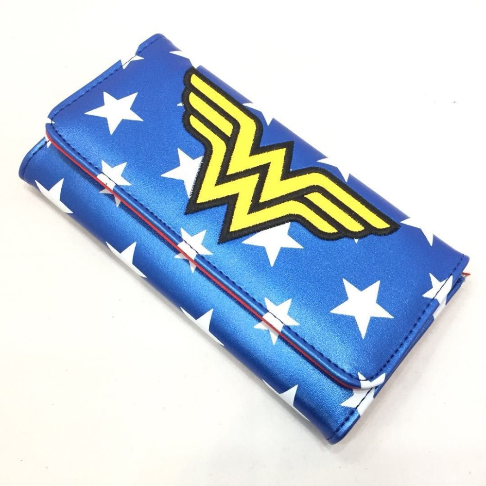 Hot Anime Wonder Woman Wallet Hero Super Girl Embroidery LOGO Leather Long Purse Gifts Teenager Fashion Casual Clutch Wallets dc wonder woman wallet suicide squad purse super hero fashion cartoon wallets personalized anime purses for teens girl student