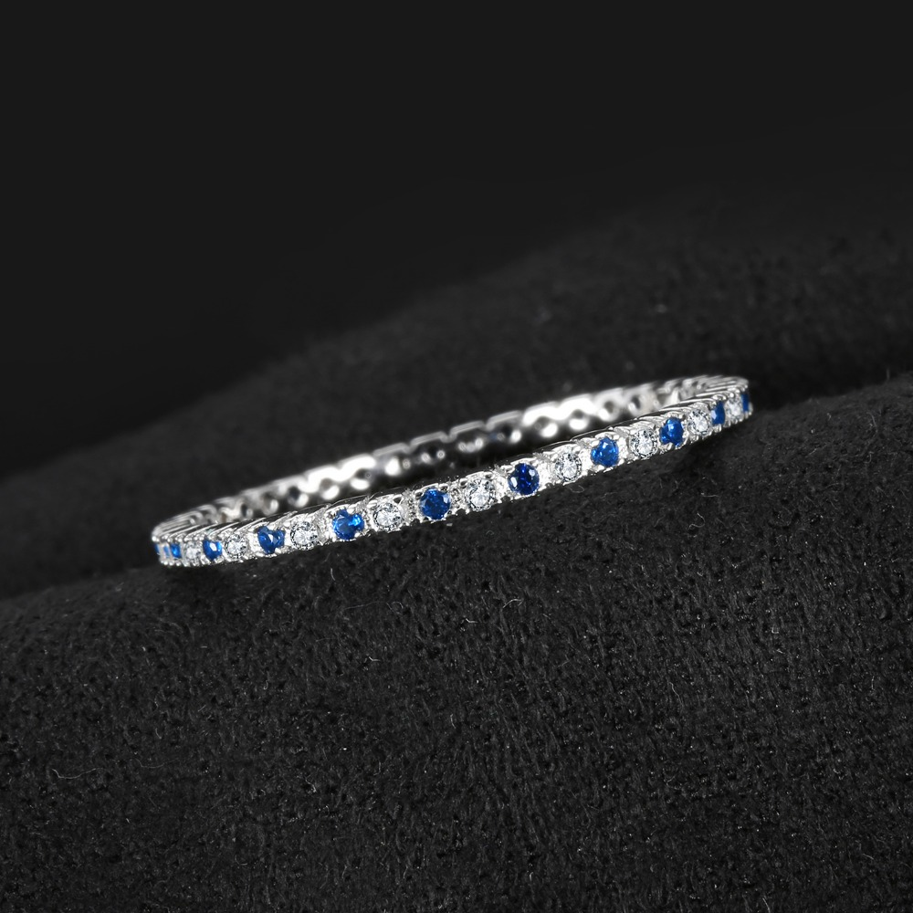 Jewelrypalace Exquisite Round Created Blue Spinel Wedding Band Ring 100% 925 Sterling Silver Jewelry Newest Ring For Women #4