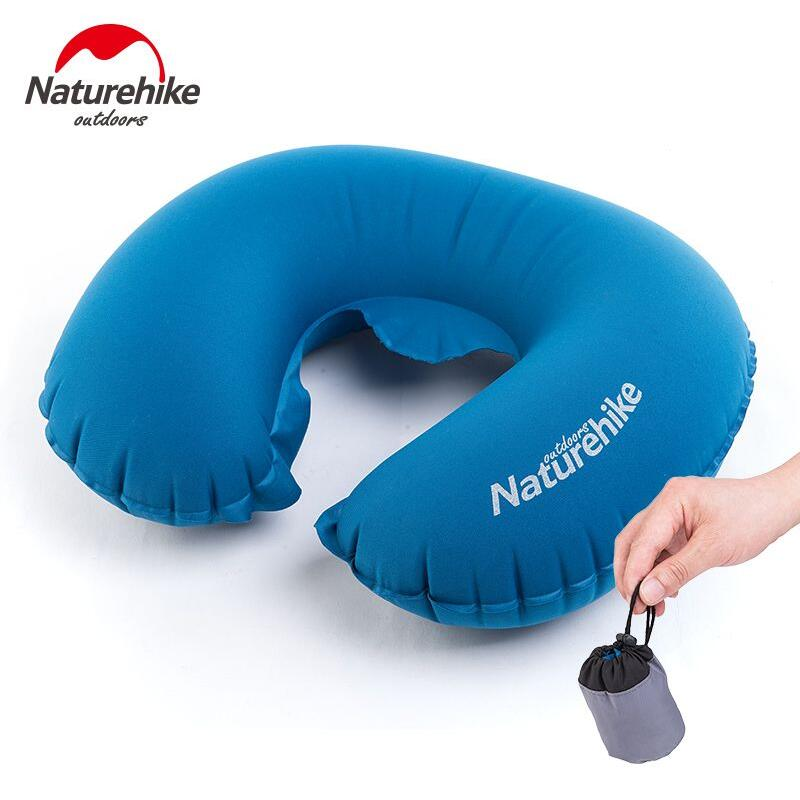 Naturehike inflatable pillow Neck inflatable mattress U-shaped airplane Air mat cushions Camping equipment Travel pillow 53g functional inflatable u shaped pillow car head neck rest air cushion for travel free shipping