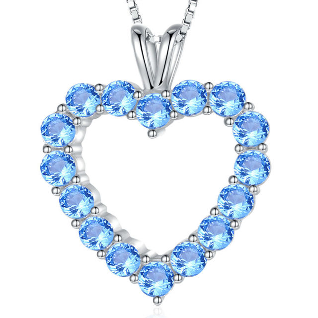 1.8 Ct Pure 925 Sterling Silver Chain Blue Heart Pendant  AAA CZ Romantic Jewelry For Women Free Shipping