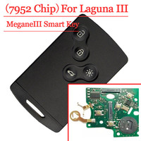 Good quality(1 pcs ) 4 Button smart card with pcf7952 for Renault Megane III Fluence Laguna III Scenic 2009 2015 433MHz