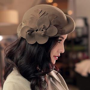 Image 2 - 2018 Autumn and Winter Lady Party Formal 100% Wool Felt Hats Women Flower Woolen Beret Caps