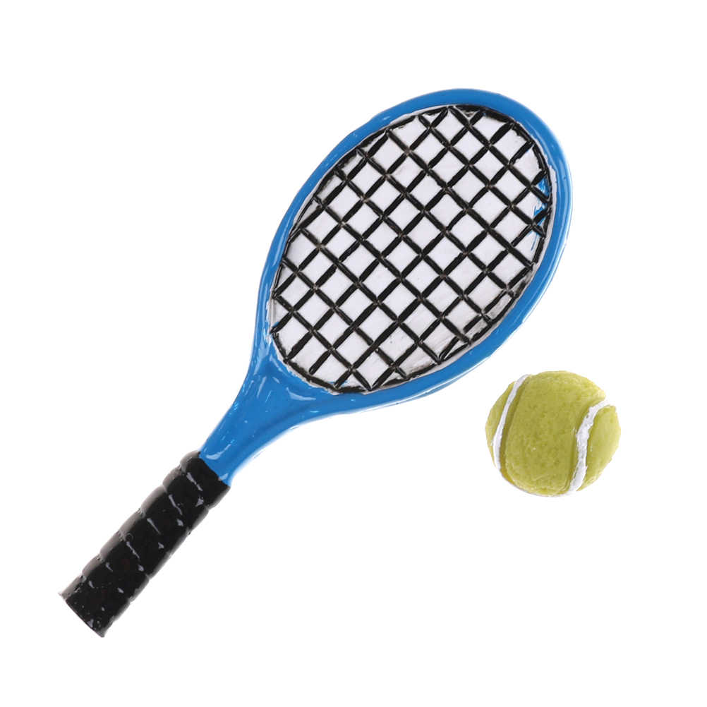1:12 Miniature Children Garden Mini Tennis Racket & Ball Xmas Christmas Gift Doll House Dollhouse Accessory 2PCS/set