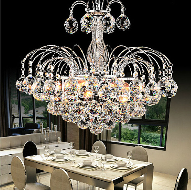 European Chandelier Living Room Round Silver Crystal Lamp LED Ceiling Restaurant Light Bedroom Dining