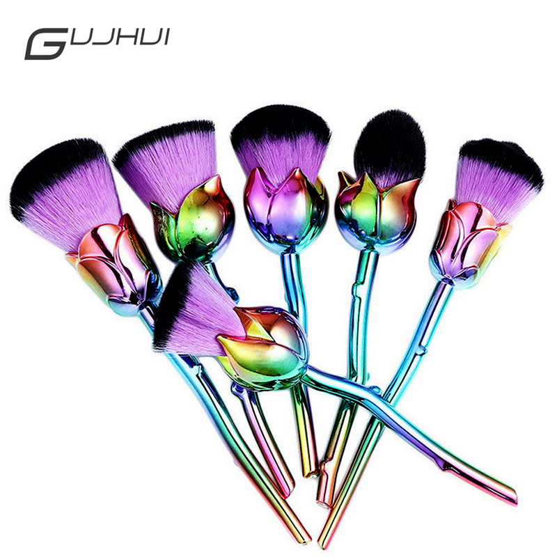 Professional 6pcs Rose Flower Makeup Brush Sets Pink Purple Easy to Makeup Foundation Powder Makeup Brushes Lots Cosmetic Tools professional cosmetic makeup brushes in a pink pu bag