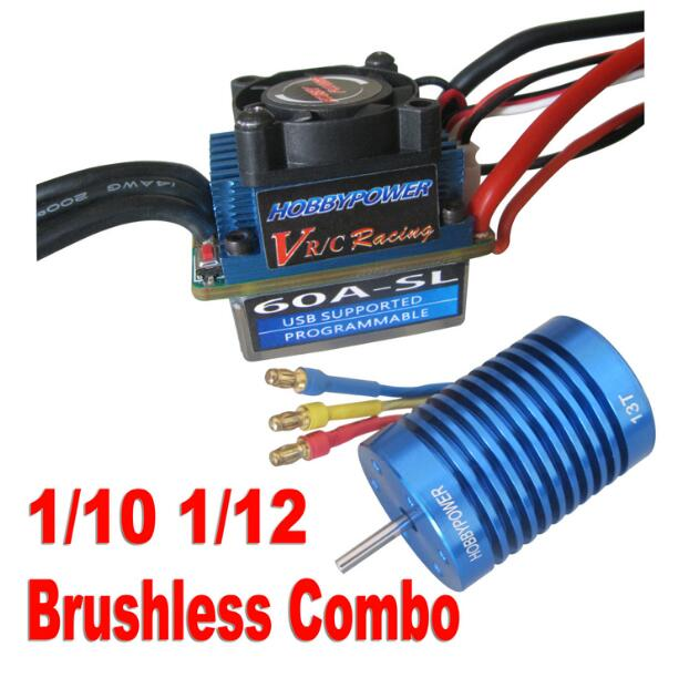Free Shipping HobbyPower 60A ESC Brushless Speed Controller + 12T 3100KV Motor for 1/10 1/12 RC Car 3650 3900kv 4p sensorless brushless motor 60a brushless elec speed controller esc w 5 8v 3a switch mode bec for 1 10 rc car