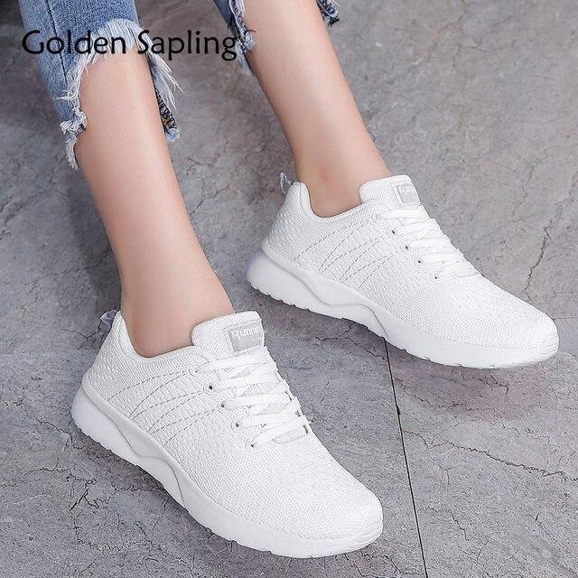 d0af6e127073 Chaussures de Sport pour femmes à lacets dorés chaussures de Sport  respirant Air Mesh pour femmes