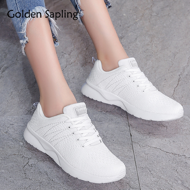 da4bee7447f6f Zapatillas deportivas doradas de mujer de malla de aire transpirable  zapatillas de deporte blancas con cordones