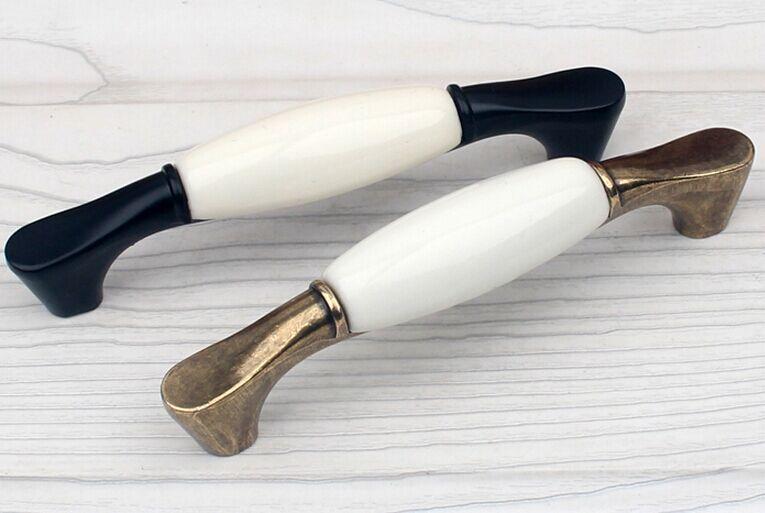 96 мм белое керамическое устройство для правки ручки Бронзовый Серебристый goldern кухонный шкаф ручки для ящиков Ручки Современные Ретро ручки - 3