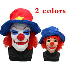Big Red nose Hair blue hat Scary Latex Clown Costume Party Mask Dress Funny Cosplay Joker Masks Props Gift