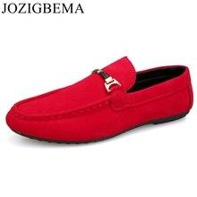 Мужские повседневные замшевые лоферы; красные однотонные кожаные мокасины для вождения; Gommino; мужские лоферы без застежки; Мужская обувь лоферы; большие размеры