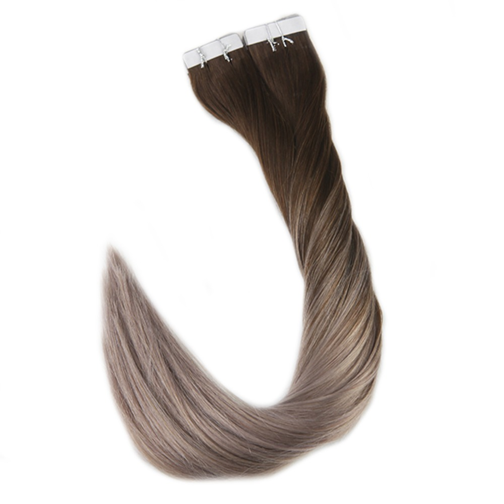 Full Shine 40 Pcs Human Hair Extensions Color #4 Fading to #18 Ash Blonde Ombre Extensions Remy Tape in Hair Skin Extensions image
