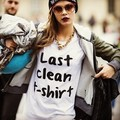 Plus Size mulheres camiseta última limpo carta impressão de algodão camisa Top engraçado do moderno