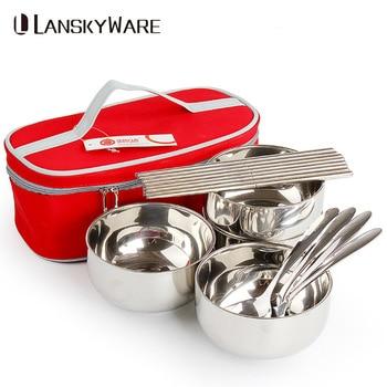 Ensemble de vaisselle d'extérieur Portable LANSKYWARE ensemble de vaisselle familiale avec sac Portable en acier inoxydable pour enfants ensemble de pique-nique de Camping