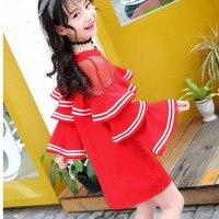 الكشكشة الطفل فتاة حزب اللباس طويل الأكمام قمم مع شبكة ربيع الخريف الطفل ملابس الأميرة اللباس المراهقات الوردي الأسود