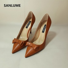 SANLUME Handmade Tire cowhide Summer Caramel color 9.5 CM High heels office shoes women Pumps mujer Elegant style Comfortable s