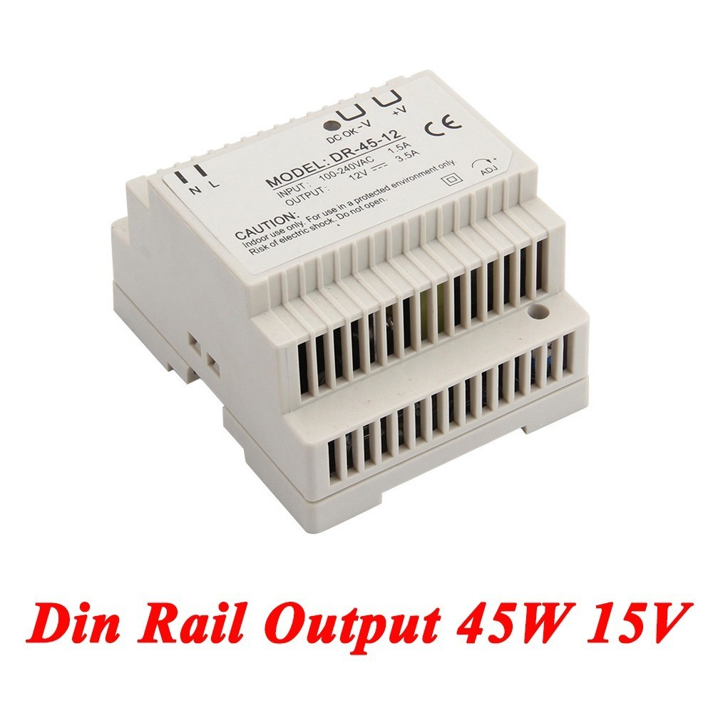 DR-45 Din Rail Power Supply 45W 15V 2.8A,Switching Power Supply AC 110v/220v Transformer To DC 15v,ac dc converter dr 240 din rail power supply 240w 48v 5a switching power supply ac 110v 220v transformer to dc 48v ac dc converter