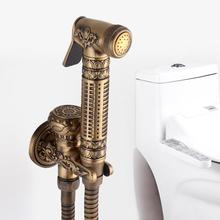 1Pc Antique Style Golden Toilet Bidets Copper Handheld Spray Shower Head Bidet Gun Tap Pressurize Sprayer Set Hand Bidet faucet все цены