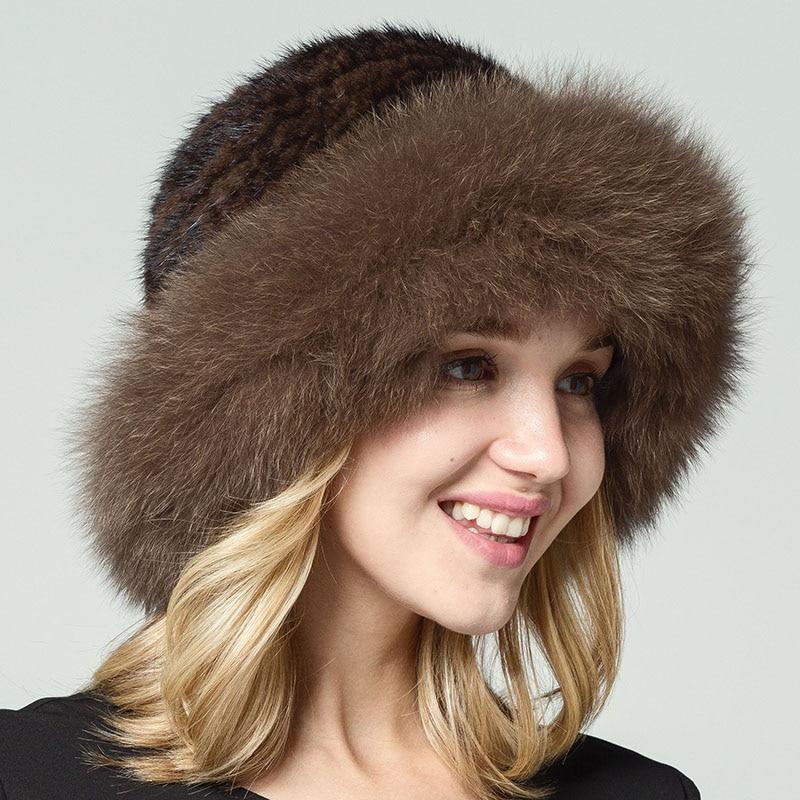 QiuSiDun 2017 Real Mink Fur Hat Best Sellers A Black  Natural Knitted Fox Fur Hats Russian Women's Winter Sun Cap Wholesale