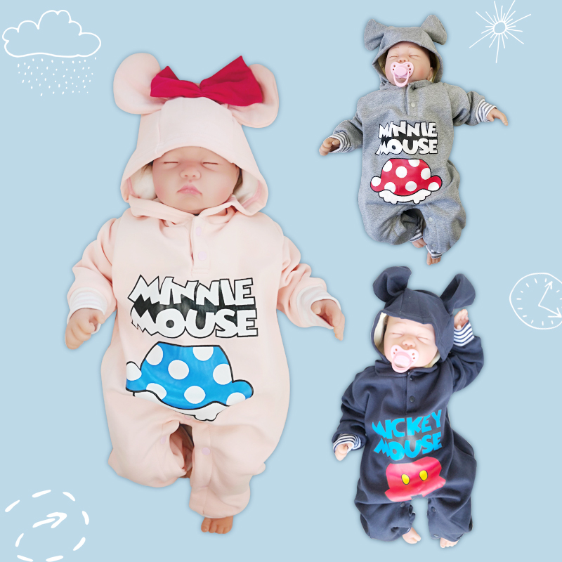 Long Sleeve Baby   Rompers   Fleece Autumn Winter Think Baby Jumpsuits Warm Newborn Baby hooded Overalls Lovely Mouse cartoon Cloth