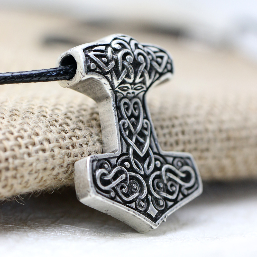 10pcs Norse Vikings Thor's Hammer Mjolnir Pendant Necklace Viking Knot pendant Necklace Scandinavian Norse Jewelry Mammen-in Pendant Necklaces from Jewelry & Accessories    2