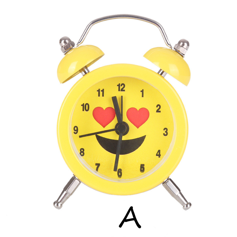 Fancy Emoji Emoticon Twin Bell Silent Alloy Stainless Metal Cute&Funny Yellow Alarm Clocks For Kids 2018 r2