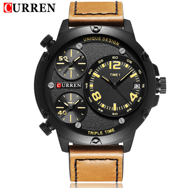 2017 NEW CURREN Men s Business Quartz Watch Multiple time zones Auto Date Top Luxury Brand