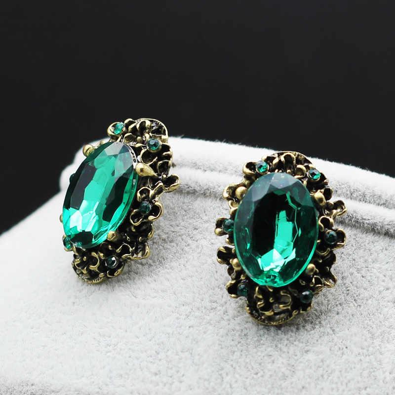 موضة اكسسوارات الزفاف العتيقة برونزية خمر الأخضر حجر كبير كريستال حجر الراين وأقراط للنساء مجوهرات