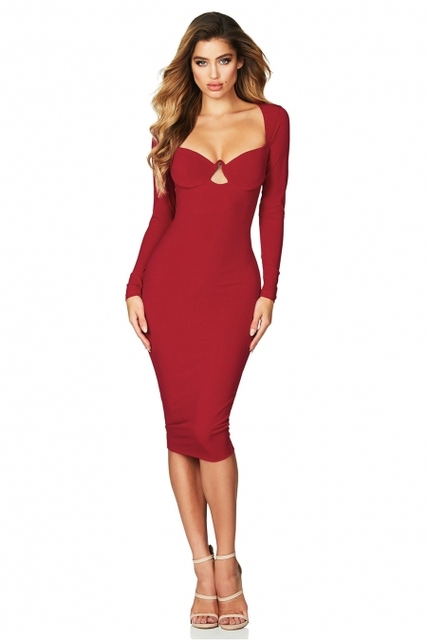 19ec9d91abc Sexy Fashion Solid Color Long-sleeved Dress Sexy Tube Top Tight Dress 2018  New Hot European And American Autumn Fashion Dress