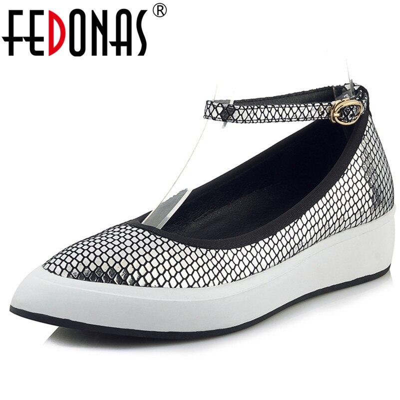 FEDONAS mode bride à la cheville femmes en cuir véritable appartements plates-formes chaussures femme Sexy bout pointu printemps été fête chaussures de mariage
