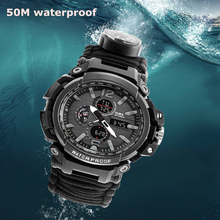 Outdoor Survival Paracord Watch Camping Multi-functional Compass Thermometer Rescue Rope Tactical Tools