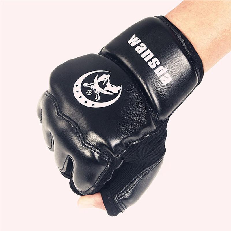 Dewasa / Anak-anak Setengah Jari Sarung Tinju Mitt Sanda Karate Taekwondo Protector Untuk Boxeo MMA Pukulan