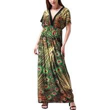 Vestidos verano 2017 femmes summer beach dress v cou sexy ouvert retour chauve-souris manches maxi dress grande taille 6xl robe longue femme ete