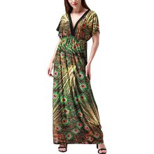 Vestidos verano 2019 Women Summer Beach Dress V Neck Sexy Open Back Batwing Sleeve Maxi Dress