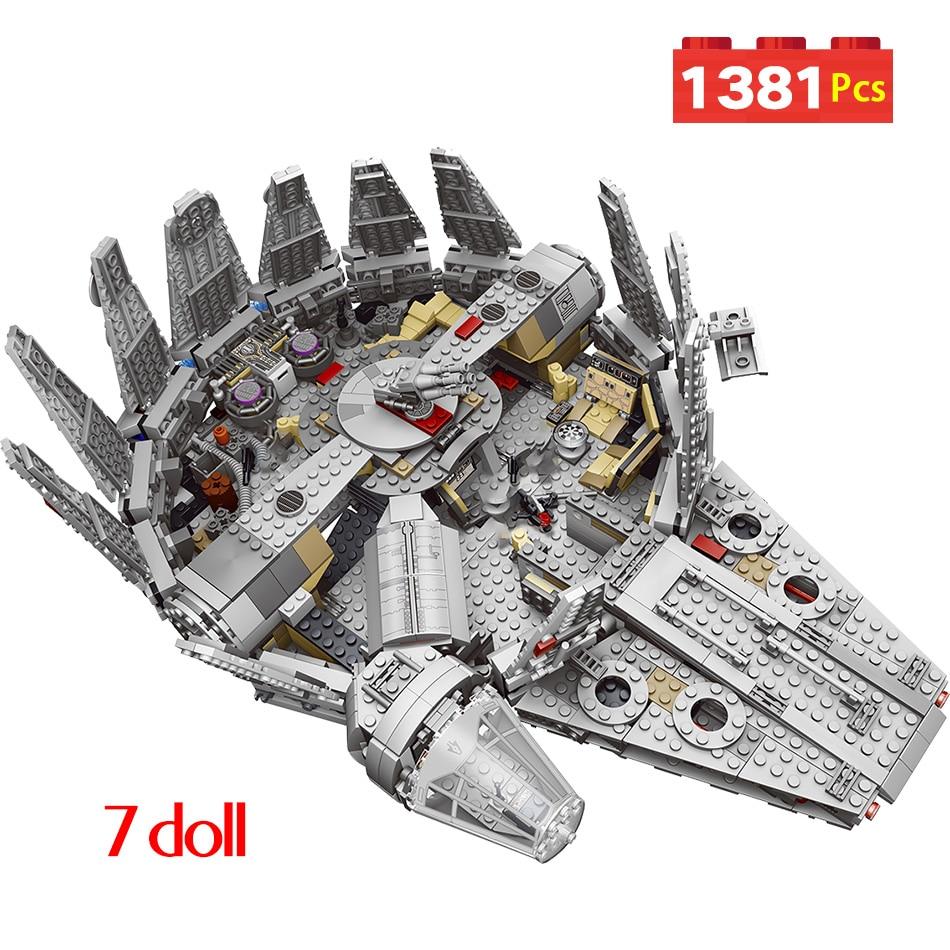 1381pcs Factory Sale Price Star Set Wars Model Building Blocks Millennium 79211 Falcon Figure Compatible Technic