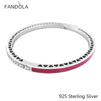 925 Sterling Silver Radiant Hearts with Radiant Orchid Enamel Bangle European Style For Women Fashion Charms