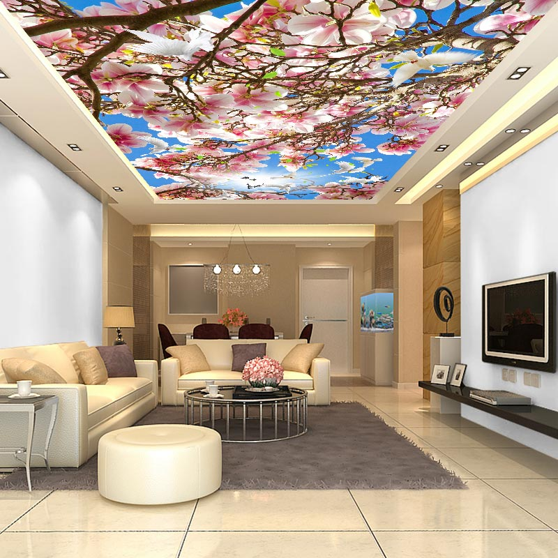 Ceiling Wall Papers 3 D Pink Flower Photo Sky Paper Murals Living Room Bedroom Thicken Self Adhesive Vinyl Silk Wallpaper In Wallpapers From Home