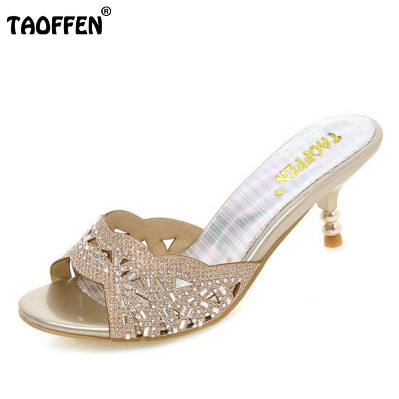 TAOFFEN new summer peep toe sexy fashion women sandals thin heel pumps princess high heels women shoes size 32-45 PA00139 cdts 35 45 46 summer zapatos mujer peep toe sandals 15cm thin high heels flowers crystal platform sexy woman shoes wedding pumps